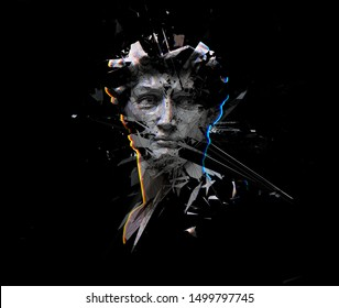 Digital offset CMYK illustration of polygonal mesh head bust sculpture from 3D rendering exploding and shattered into pieces. Isolated on black background.
