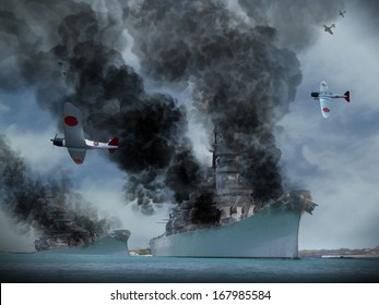 Digital Oil Painting of an attack similar to Pearl Harbor in World War 2.