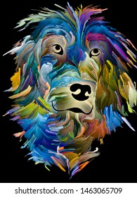 Digital oil painting of a dog on black background on subject of love, friendship, faithfulness, companionship between dog and man. Animals go to heaven series.