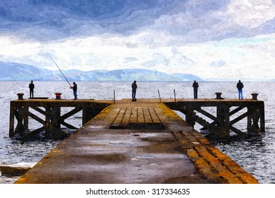 Digital oil painting from a photograph of five males fishing at the end of the abandoned pier at Portencross, North Ayrshire, Scotland on a cloudy day with the Isle of Arran in the background