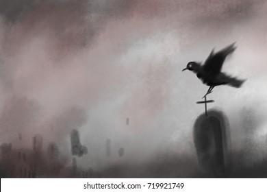 digital paining tombstone and flying red eye crow on graveyard background.halloween season