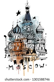 Digital painted Moscow Sketch, isolated on white background.