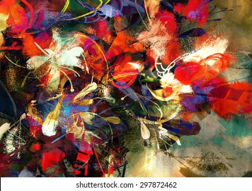 digital painting of abstract bright colorful flowers,illustration