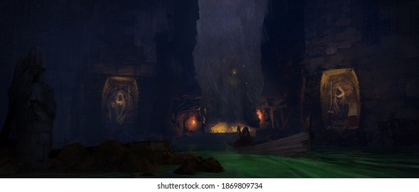 Digital painting of an adventurer guiding his boat in an ancient cavern to a dangerous treasure of gold - fantasy illustration