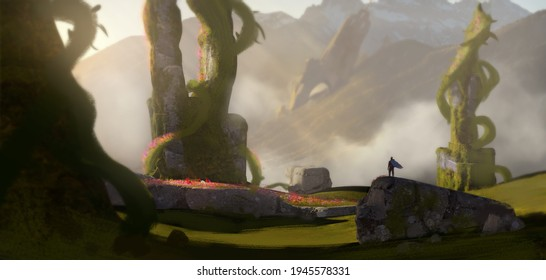 Digital painting of an adventurer hiking through an epic landscape finding flowers to make money for his village - fantasy illustration