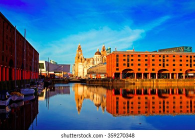 A Digital painting of the Albert Dock in Liverpool UK