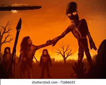 digital painting of an alien astronaut meeting with prehistoric humans