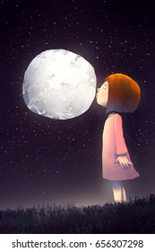 digital painting of alone girl kissing the full moon, story telling illustration