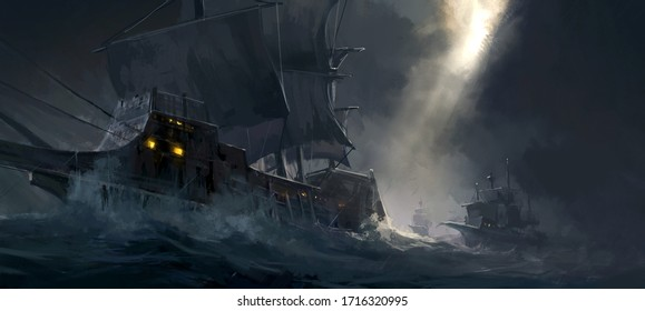 Digital painting of ancient warships traveling on rough seas.