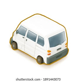 The digital painting of asian transportation mini van, most small van vehicle car use in Taiwan and Japan isometric cartoon icon raster illustration on white background.