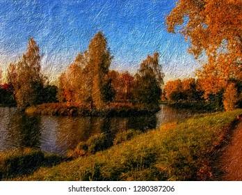 Digital painting. Autumn landscape. Canvas cover texture - Pastel-2,5D-Color control.