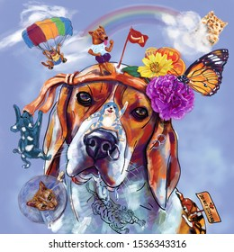 Digital painting of beagle dog head with funny character and imagination.