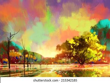 digital painting of a beautiful lake,colorful sky,landscape illustration