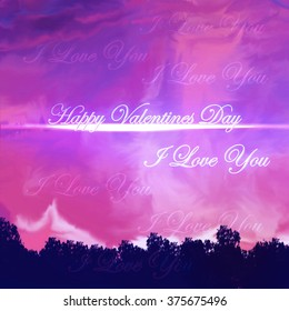 A digital painting of a beautiful sunset with a valentines day card and I love you message
