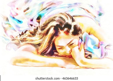 Digital painting beautiful woman lying in bed and covering herself with Brightly colored blankets