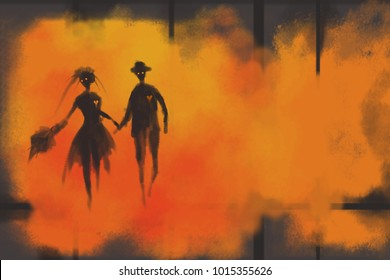 digital painting black shadow couple hold hand and running on orange background.valentine day.halloween day.