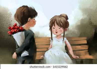 digital painting of boy gives flowers to girl, acrylic on canvas texture, story telling illustration