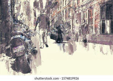 Digital painting of buildings in dark tone, city in day time with walking people