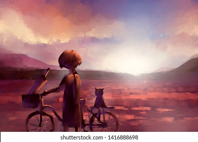 digital painting of cat and girl on a bicycle in the sunset, acrylic on canvas texture, story telling illustration