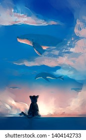 digital painting of cat looking to flying whale on the sky, acrylic on canvas texture, story telling illustration