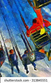 A Digital painting of children at the funfair