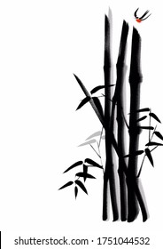Digital painting Chinese brush painting style illustration of bamboo stems and leaves and a bird  flying isolated on white background with copy space for poem, haiku, runaround or wraparound text