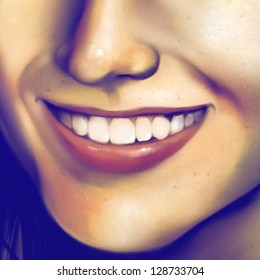 digital painting of a close up view of a young woman's smile