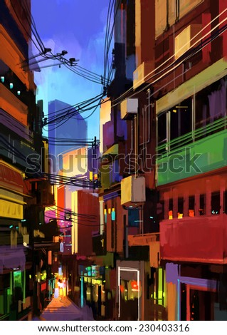 0f264b26 Digital Painting Colorful Buildings City Alleyillustration Stock ...