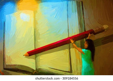 Digital painting colorful style women write the big notebook.
