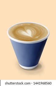 The Digital Painting a Cup of Latte Coffee (Latte Art Heart) in Realism Art Style