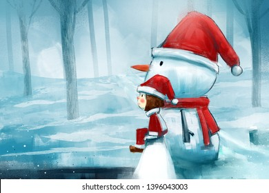 digital painting of cute girl drawing sitting with a snowman on the bridge, acrylic on canvas texture, story telling illustration