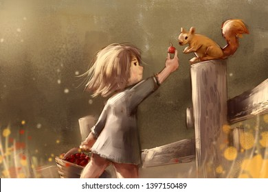 digital painting of cute girl feeding squirrel in autumn park, acrylic on canvas texture, story telling illustration