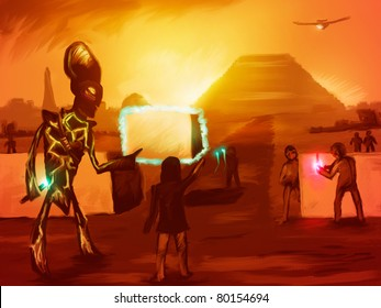 digital painting of extraterrestrials helping ancient man build the pyramids