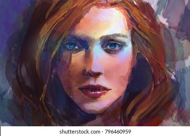 digital painting of fantasy female woman portrait close up in watercolor style