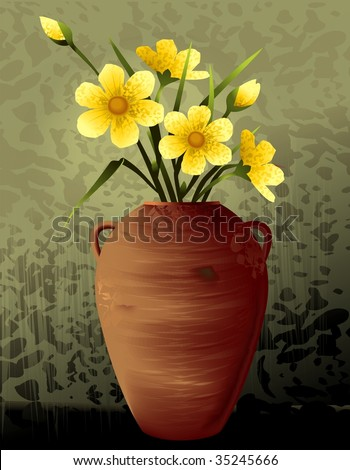 Digital Painting Flower Vase Colour Background Stock Illustration
