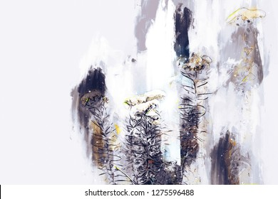 Digital painting of flowers on white background