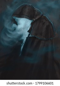 digital painting of a foggy hooded ghost creature creeping in the dark - digital fantasy illustration
