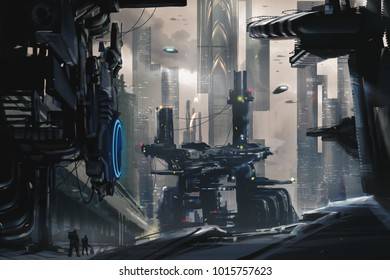 Digital Painting of a Futuristic Cityscape