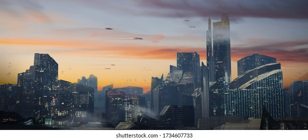 a digital painting of a futuristic sci-fi fantasy city with flying cars against a beautiful sunset - digital science fiction illustration