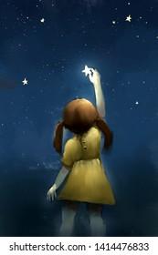 digital painting of girl reach the star, acrylic on canvas