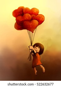 digital painting of girl with red heart balloons, acrylic sketched on canvas texture