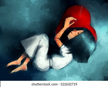 digital painting of girl sleeping and hugging heart shaped old pillow standing in rainy, acrylic sketched on canvas texture
