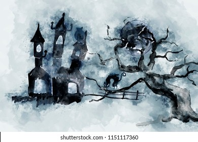 Digital painting of Halloween image. Spooky night with black castle, black cat and tree in moon light