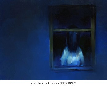 digital painting of horror girl behind the window, oil on canvas texture