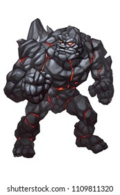 Digital Painting Illustration of Black Golem Stone Monster with Red Magma Light on the Body, a Myth Creatures