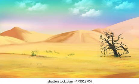 Digital Painting, Illustration of a dried tree in the hot desert. Cartoon Style Character, Fairy Tale Story Background.