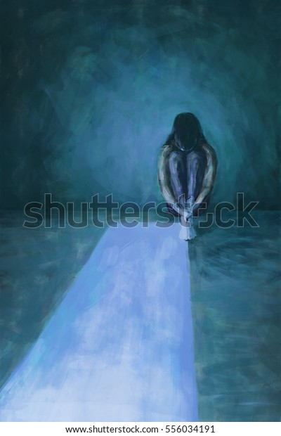 Digital painting illustration, oil or acrylic color brush style, woman sitting at night with emotion of lonely, upset, sad, depressed, crying in room with dramatic light from open door. Blue tone.