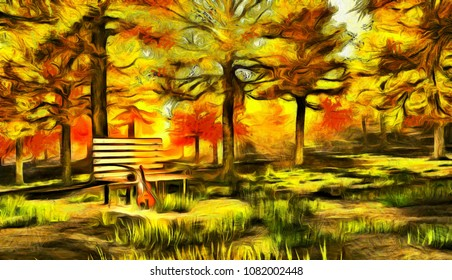 Digital painting in impressionism style. Violin in autumn park. 3D rendering