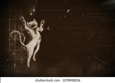 digital painting japanese two tail cat monster ghost on dark background.