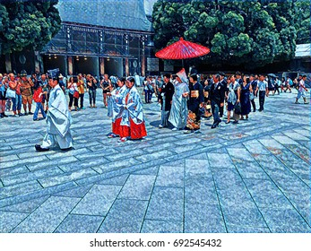 Digital painting of a Japanese wedding procession with the priest leading and the bride and groom walking under a parasol at a shrine in Tokyo, Japan